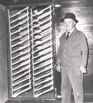 Mr. Carter with poultry incubator.