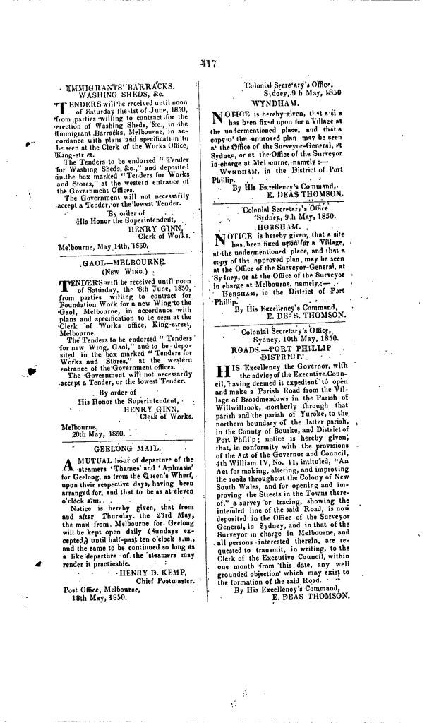Port Phillip Government Gazette, 22 May 1850, p. 417